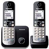 Panasonic KX-TG6812JTB Telefono Cordless DECT Twin Pack (2 portatili), Schermo LCD, Base Design Sottile e Compatto, Nero