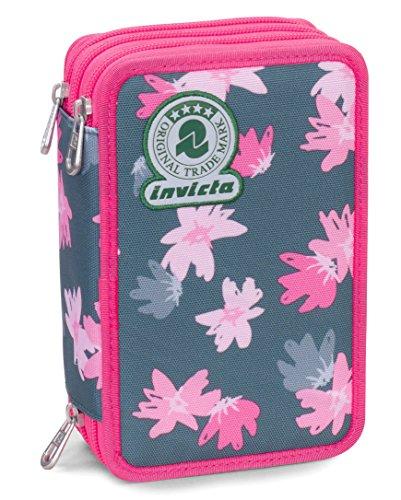 Astuccio 3 Zip Invicta, Painted Daises, Rosa, Con materiale scolastico: matite, pennarelli...
