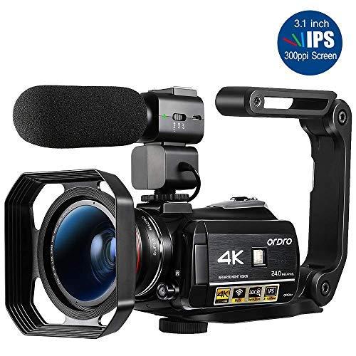 Videocamera 4K, Videocamera ORDRO AC3 Ultra HD Videocamera 1080P 60FPS WiFi e Videocamera per...