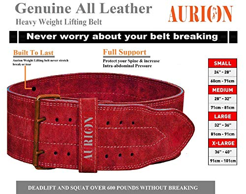 Aurion Genuine Leather Pro Weight Lifting Belt for Men and Women | Durable Comfortable & Adjustable with Buckle | Stabilizing Lower Back Support for Weightlifting (Maroon, Large)