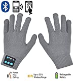 HMILYDYK Touchscreen Wireless Bluetooth Gloves Winter Knit Warmer Gloves with Built In Microphone & Speaker, Christmas Gifts(Gray)