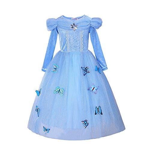 Pettigirl Niña Princesa Mariposas Lujoso Vestir Manga larga Fiesta Disfraz , 8 años