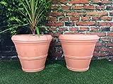 PACK OF 2 Large Round Terracotta (Colour) Effect Garden Planters / Diameter 55cm Height 49cm ( pot tub )