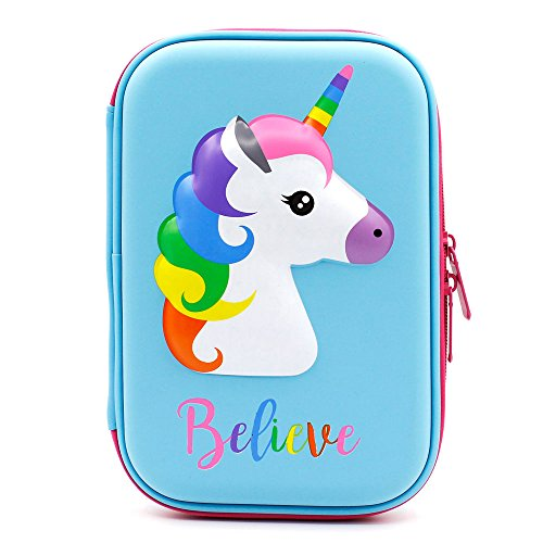 Astuccio con grazioso unicorno in rilievo, con parte superiore rigida, per bambini, grande, per...