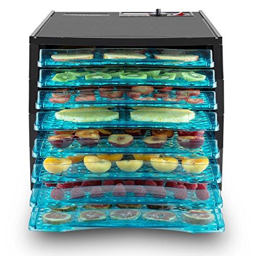 Klarstein Fruit Jerky 8 Deshidratador de fruta, verduras o carne (secador 630W potencia, 8 pisos bandejas, calentador alimentos, temperatura y tiempo secado ajustable, superficie para secar casi 1m², pantalla LCD, deshidratadora negra)