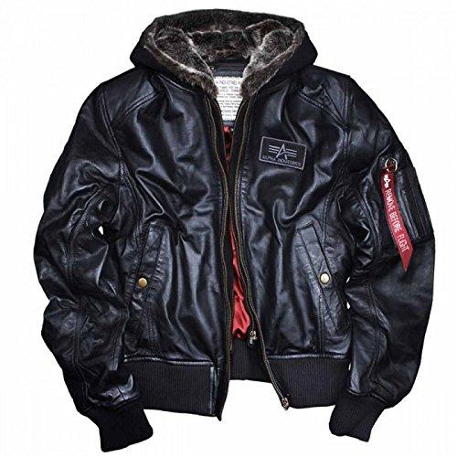 New Alpha Industries MA-1d-tec portafoglio in vera pelle nappa di agnello nero con cappuccio staccabile teddy-lined antivento Bomber pilota motociclista giacca fodera in raso rosso originale m l XL XXL 3x L 4X L 5X L Nero Black