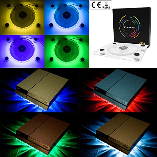 WOWLED USB RGB LED Cooler Cooling Fan Pad Stand Accessories for PS4  Playstation 4 Pro XBOX One Consoles Laptop Notebook