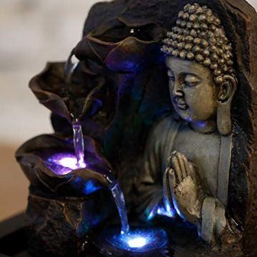Zen'Light SPIRITUALITE - Fuente de polirresina de Color marrón Oscuro, 21x 21x 26cm. 8