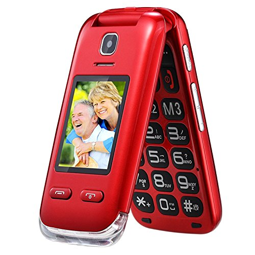 Eg520Senior débloqué GSM téléphone Portable, Bouton SOS, Compatible avec Une Aide auditive Rouge 22