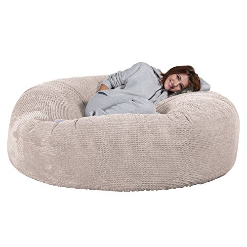 Lounge Pug, Pouf Sacco Gigante XXXL 'Mega Mammut', Pompon - Panna