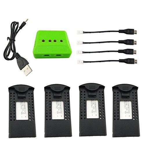 Fytoo 4PCS 3.7V 900mah LiPO Batteria e 4 in 1 Caricabatterie per SG700 DM107S S169 Pieghevole...