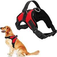 RCruning-EU Perros Pecho de Arnés Mascotas Reflectante Antitranspirante Acolchado Dog Vest Harness Ajustable Arnes Seguridad Chaleco Cabestro para Ejercicio de Caminar Formación Corriendo-Red-M