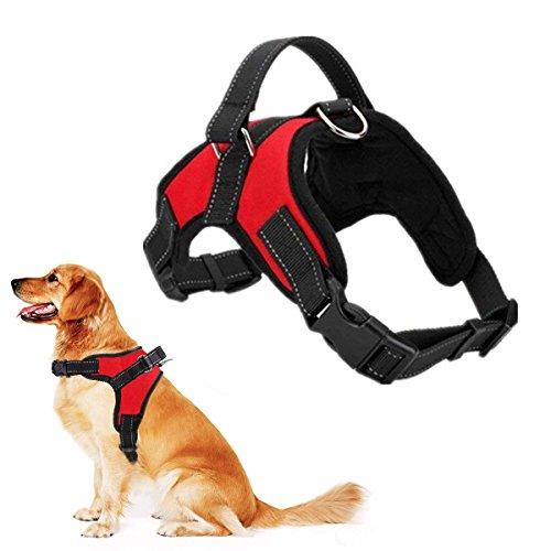 RCruning-EU Perros Pecho de Arnés Mascotas Reflectante Antitranspirante Acolchado Dog Vest Harness Ajustable Arnes Seguridad Chaleco Cabestro para Ejercicio de Caminar Formación Corriendo-Red-L
