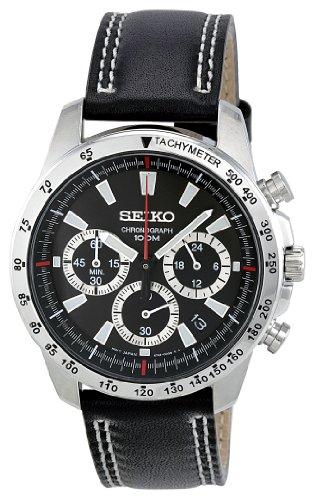 Seiko Orologio Cronografo al Quarzo Uomo con Cinturino in Pelle SSB033P1