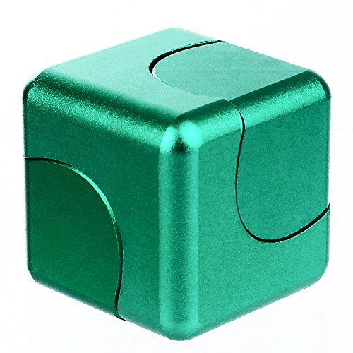 Euhubb Fidget Spinner Anti-Anxiety Helps Focusing Fidget Toys Premium Quality CNC Metallic Focus Toy for Kids & Adults - 4-in-1 Spinning Top, Z Spinner, Cube Spin - Cube Spinner Green