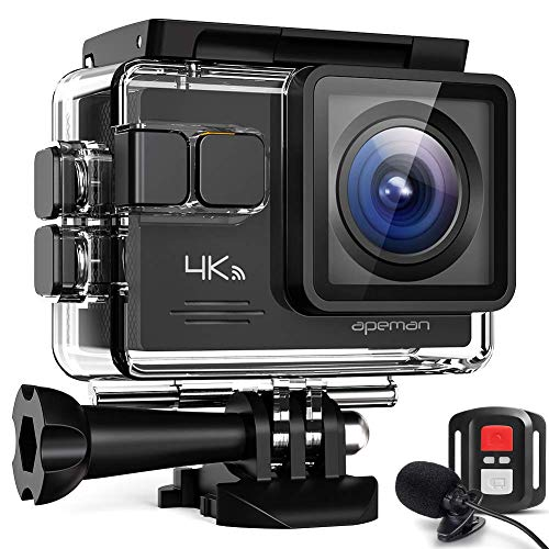 APEMAN 【Aggiornato】 4K 20MP Action Cam WiFi con Microfono Esterno Subacquea 40M con Telecomando...