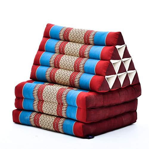 Leewadee Materassino Thai con Cuscino Triangolare Materasso Tailandese Pieghevole Poltrona per La Televisione, 170x53x30 cm, Kapok, Blu Rosso