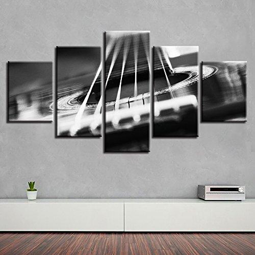 Quadro modulare Quadro Moderno Strumento a 5 Pannelli Chitarra Wall Art Poster Soggiorno Materiale...