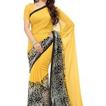 Ishin Combo of 5 Poly Georgette Multicolor Printed Women's Saree