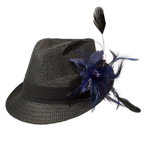 Alpenflüstern Damen Strohhut Trachtenhut schwarz mit Feder-Clip ADV03000060 blau - 2