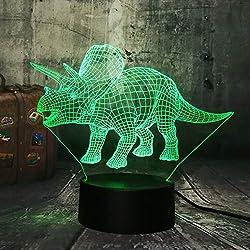 Luz De Noche 3D Dinosaurio Jurassic World Triceratops 3D Led Night Light Desk Lámpara de Sueño Niños Creativos Juguete Dormitorio Decoración Del Hogar Regalo de Navidad