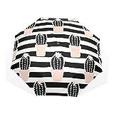 Paraguas Originales Con Diseño De Lineas En Blanco y Negro Cactus Maceta Rosa