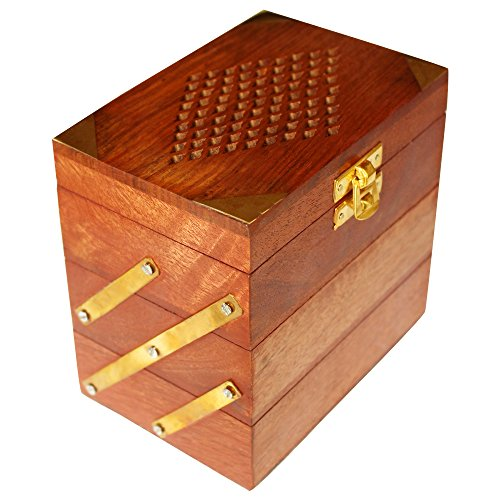 ITOS365 Handmade Wooden Jewellery Box for Women Jewel Organizer Hand Carved Jali Carvings Gift Items
