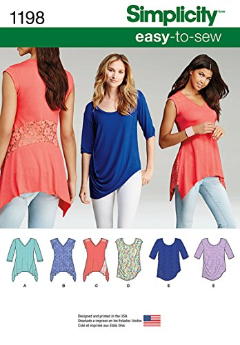 Simplicity Creative Patterns 1198 Misses' Knit Tops in Two Styles, A (XXS-XS-S-M-L-XL-XXL)