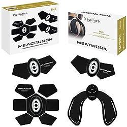 Plastimea Electroestimulador Muscular Hips Trainer Digital Masaje EMS TENS Masajeador Eléctrico Abdomen Brazo Piernas Nalgas Espalda para Hombres y Mujeres
