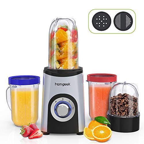Homegeek Frullatore, Mini Frullatore Portatile Compatto da 350 Watt per Smoothies con 4 Lame in...