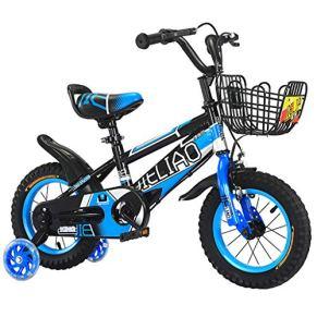 Bicicleta para niños Rueda de Choque para niños de 2 a 8 años, Bicicleta para niños con Rueda de Entrenamiento con Flash silencioso Bicicleta para niños de 14/16 Pulgadas con Freno