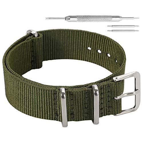 20 millimetri esercito svago militare stile verde NATO nylon balistico sostituzione cinturino cinturino per gli uomini