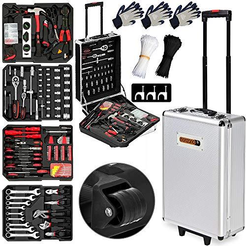 Monzana® Werkzeugkoffer XXL gefüllt Set 899tlg | Qualitätswerkzeug - Werkzeugkasten Werkzeugkiste Werkzeugtrolley silber