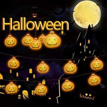 HUOU Guirlande Lumineuse Halloween 3D Pumpkin Lumieres 20 LEDs 3M/9.84ft DIY Citrouille Cordes Christmas Xmas Veilleuse Lights Decoration Noel Fete Halloween etc