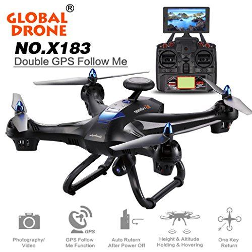 Igemy New X183Global drone 5.8GHz 6-axis Gyro WiFi FPV 1080p fotocamera dual-gps Follow Me brushless Quadcopter, Nero