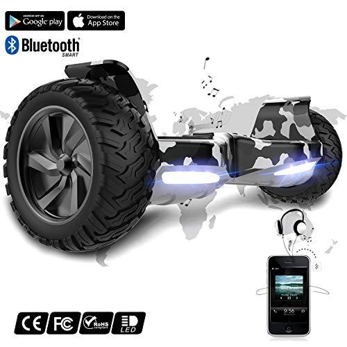 Hoverboard elettrico scooter a 8 pollici con Bluetooth & LED Auto Balance E-Skateboard