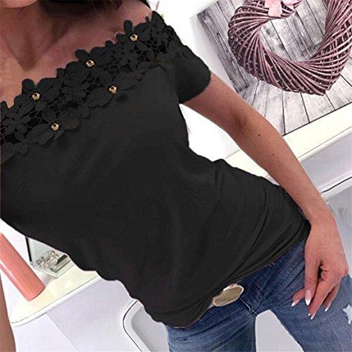 Moonuy Kurzarm-T-Shirt der Frauen 2018 Art- und Weisespitze weg von der Schulter-Spitze aushöhlen tägliches beiläufiges Hemd O-Ansatz dünne Spitzenbluse in der Förderung (EU 36/Asien M, Schwarz) - 2