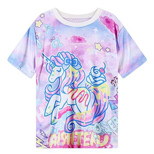 Mujer Señora Camisetas del Unicornio De La Historieta Gráfica De Manga Corta Camiseta Floja Femenina Camiseta Chica Remata