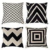Seepong Geometric Cushion Cover Vintage Design Linen Black Pillow Case 4pcs Pillow Cover 18x18inch(45x45cm)