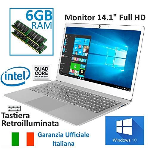 Notebook Jumper Ezbook X4 Garanzia Italia 14' IPS 1920*1080 Full HD Intel J3455 Quad Core, Windows...