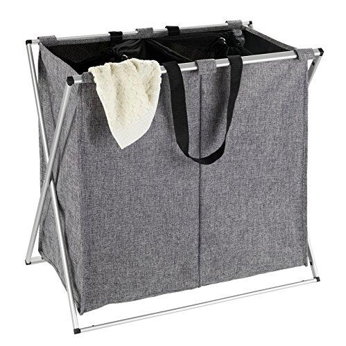 Wenko 62151100 Wäschesammler Duo meliert-/Wäschekorb Fassungsvermögen: 120 l, 59 x 57 x 38 cm,  Meliert