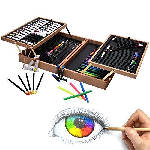 Artina 127tlg XXL Malset Bologna im edlen Malkoffer aus Holz - Acrylfarben Set, Buntstifte Set, Wasserfarben, Ölpastelle, Bleistifte UVM.
