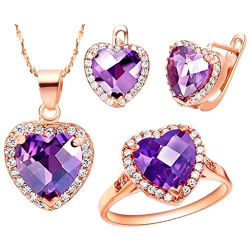 KnSam Mujer Rosa Oro Plate Conjunto de Collar Pendientes y Pulsera, Corazón Púrpura Cristal Juego de Joyas Tamaño 20