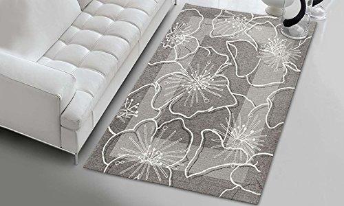 Parure Scendiletto 3 pezzi - Tappeto Spring Fiore Bianco fondo Grigio - in ciniglia con sottofondo...
