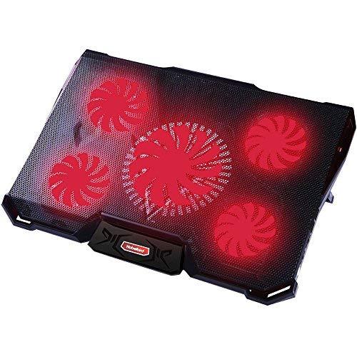 Laptop Kühler für 12-17,3 Zoll,Ultra Leise Notebook Kühler mit 5 Ruhige Lüfter und roten LEDs,7 höheverstellbar,2 USB-Anschlüssen,verstellbare Windgeschwindkeit Laptop Cooling Pad für Gamer Gaming
