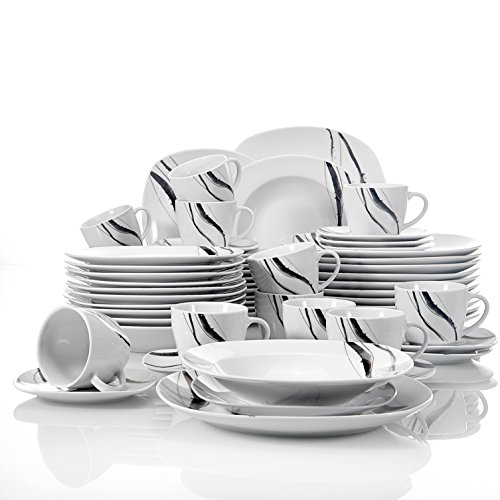VEWEET, Tafelservice \'Teresa\' aus Porzellan 18/36-teilig Geschirr Set, 20/40-teilig Frühstücksservice, 24/48-teilig Tafelservice, 30/60-teilig Kombiservice Tafelservice Set (60-teilig Tafelservice)