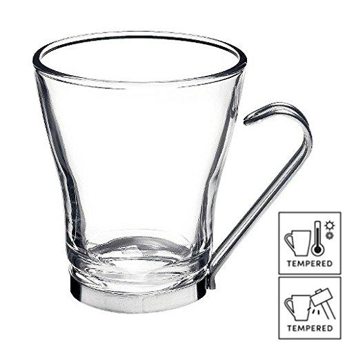 6 x Bicchieri da caffè, tazza per Cappuccino con manici in acciaio INOX, 7 ¾ 22cl ml)