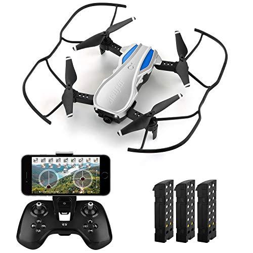 HELIFAR H1 Drone con Telecamera Regolabile, Mini Drone Pieghevole con WiFi FPV HD 720P App, Tempo di Volo più Lungo Sistema di Stabilizzazione con 3 batterie, Regalo per Bambini