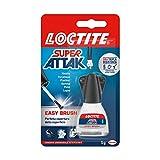 Loctite Super Attak Easy Brush, adesivo istantaneo con pennello facile e preciso, colla liquida trasparente per gomma, metallo, ceramica, legno, cuoio, pelle, 1x5g