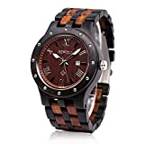 Bewell W109A Vintage Black Sandalwood Wooden Adjustable Strap Quartz Watch with Wood Grain Casual Wristwatch for Men